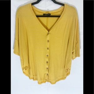 ❤️ Yellow Striped Ribbed Button Up Oversized Top